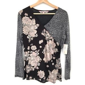 NEW Willow Drive Pullover blouse top sheer Black Floral Animal print M women's